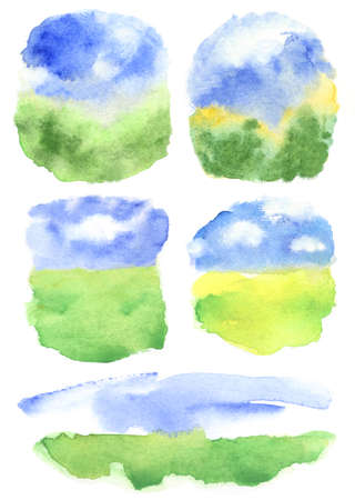 summer abstract backdrops with clouds on blue sky and grass field. set of watercolor backgrounds Zdjęcie Seryjne