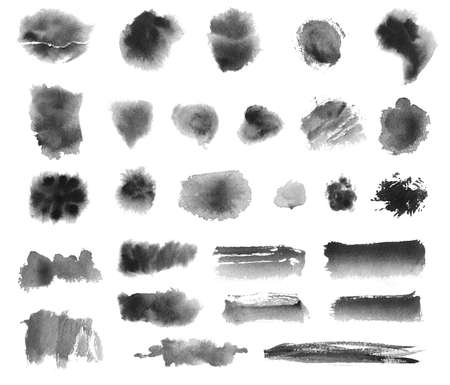set of hand drawn watercolor brushes. black on white