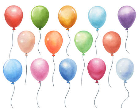 set of watercolor air balloons isolated on white. hand painted greeting elements illustration
