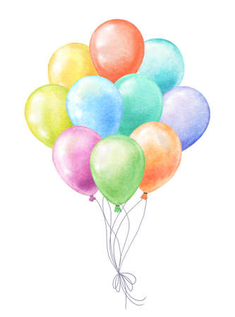 bunch of watercolor balloons various colors on white Zdjęcie Seryjne