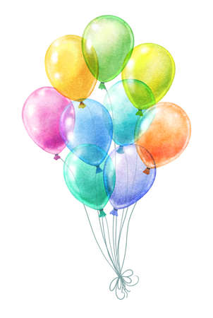 bunch of watercolor balloons isolated on white. various colors transparent balloons