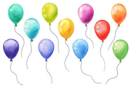 watercolor balloons isolated on white. hand panted separate balloons with bright various colors