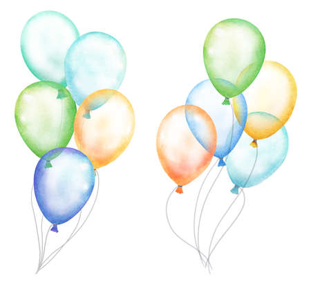 set of transparent watercolor balloons illustration on white Stock Photo