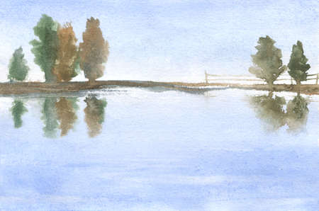 watercolor illustration of trees and their reflections in water, lake. abstract rural natural background