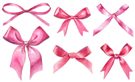 watercolor ribbon bows set isolated on white. red and pink silk bows knots as event decorative design elements. hand-drawn illustration