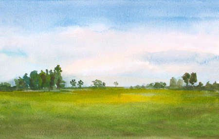 watercolor green field landscape background with trees and blue sky.  Zdjęcie Seryjne