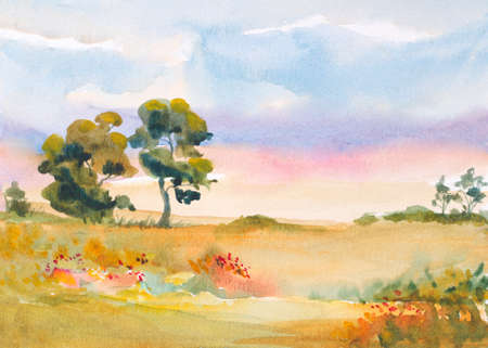 watercolor landscape with sunrise sky and trees, flowers, grass