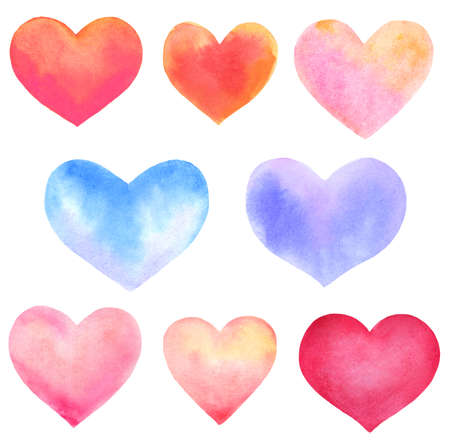 set of watercolor hearts isolated on white. hand-drawn illustration