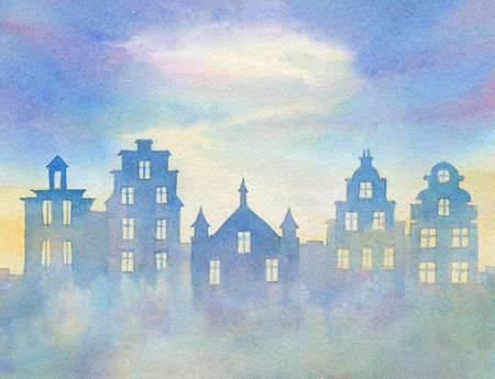 watercolor illustration on european urban theme with houses in fog Stock Photo