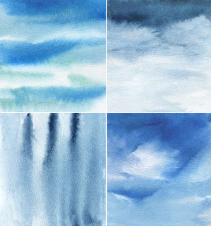 set of blue and indigo watercolor backgrounds