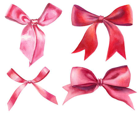 watercolor red and pink silk ribbon bows set isolated on white. hand-drawn knots as event decorative design elements.  Zdjęcie Seryjne