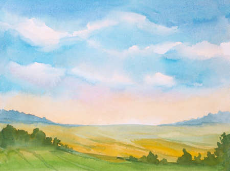 watercolor sunrise landscape with blue sky and clouds and green grass