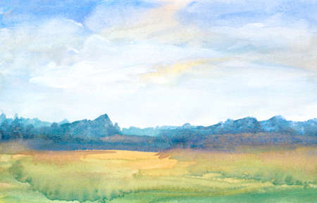 watercolor green field landscape background with abstract trees and blue sky