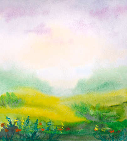 watercolor meadow landscape with abstract grass field and sky