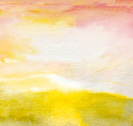 watercolor abstract yellow green field background with sunrise sky and clouds