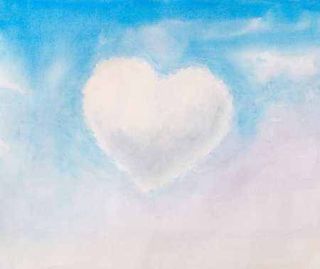 heart shape as a cloud in the sky. watercolor illustration Stock Photo