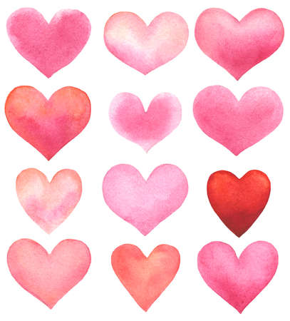 set of watercolor hearts isolated on white. hand drawn illustration