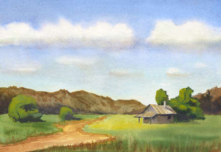 watercolor landscape with countryside road, little house, trees and hills