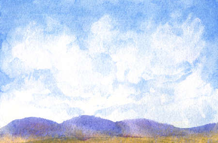 nature background with blue sky and abstract clouds, simple hills watercolor horizontal painting