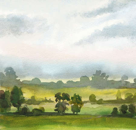 nature background with foggy morning in the fields. watercolor drawing Zdjęcie Seryjne