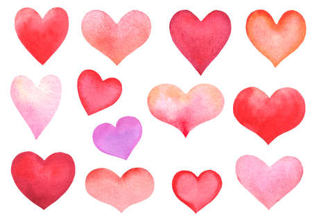 set of various watercolor hearts isolated on white. hand drawn illustration Stock Photo