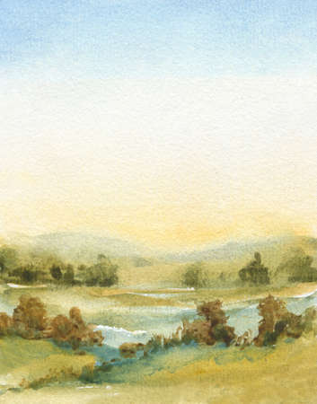 abstract watercolor painting with sky, field, trees, fog