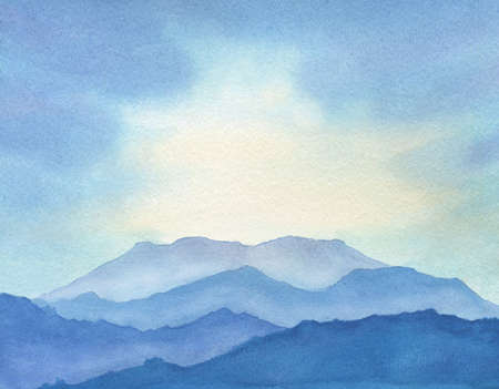 abstract watercolor illustration with blue mountains and sunlight