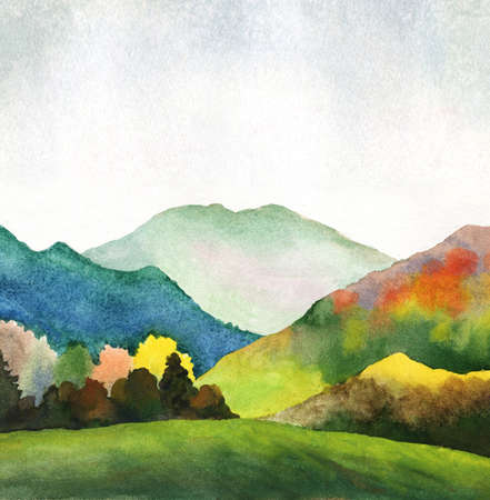 watercolor illustration of hills and mountains in autumn. hand drawn painting