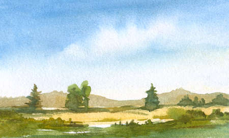 watercolor painting with tranquil landscape with hills, firs, blue sky  with clouds, green grass Zdjęcie Seryjne