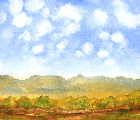 abstract nature background with fluffy clouds and field. hand drawn watercolor painting