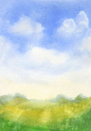 watercolor sky with abstract green grass loose landscape