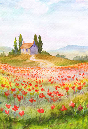 Summer watercolor illustration with grass field with flowers and house  and trees on hill. Poppies and other wild flowers, peaceful sky with clouds