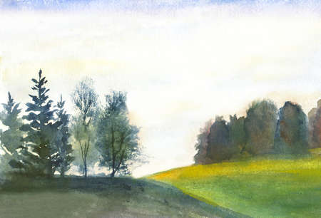 abstract landscape with trees and hills. watercolor background Zdjęcie Seryjne