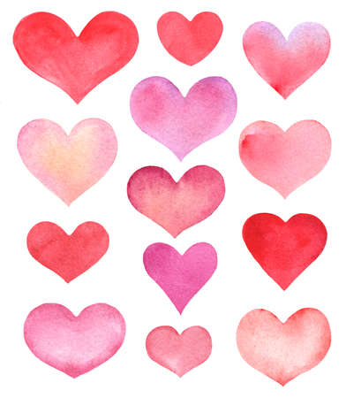 hand-drawn set of watercolor hearts isolated on white Zdjęcie Seryjne