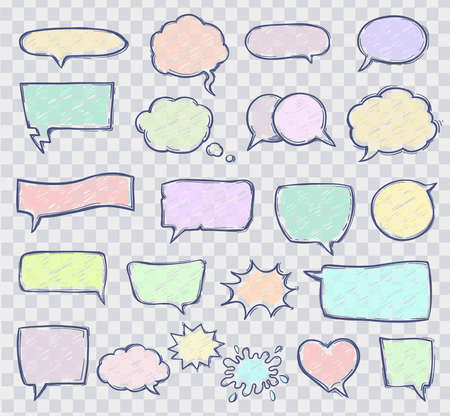 set of sketchy speech bubbles on transparent grid background. hand drawn line with scribble effect style. pastel colors