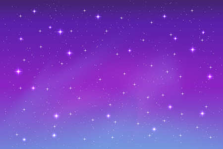 nice bright stars in the night sky background, purple, blue and violet colors Illustration