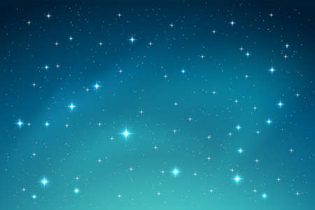 A Blue Night Sky with Stars Horizontal Background. Vector Ilustração