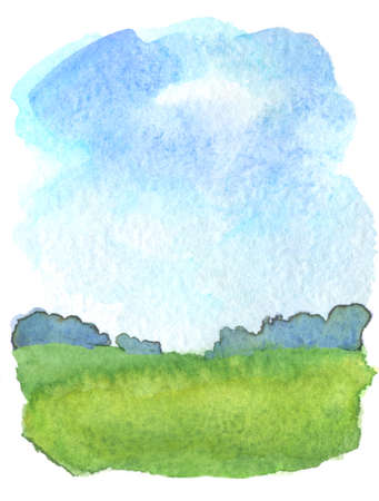 Watercolor illustration of rural landscape background with abstract blue sky and cloud, green grass field and distant trees line. Stock Photo