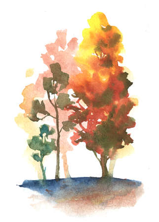 watercolor autumn trees on white vertical composition. fall park theme illustration with orange, yellow, red, green colors