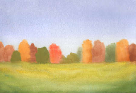 abstract autumn landscape with green yellow grass and multi color trees. watercolor hand drawn illustration Stock Photo