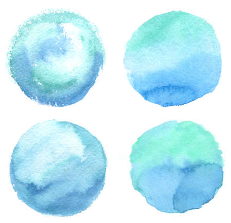 Set of blue and aqua colors watercolor blobs, isolated on white background. Hand drawn illustration Stock Photo