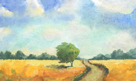 rural landscape with yellow field, tree, path trail, blue sky with clouds. watercolor illustration