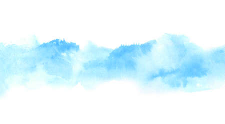 light blue watercolor border on white with wet shapes of loose abstract clouds, distant hills. hand painted background