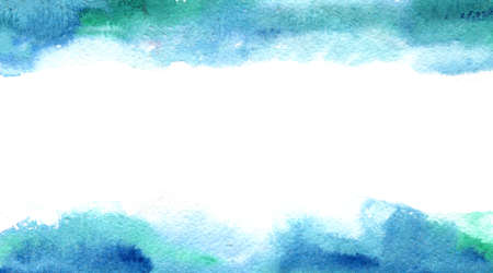 abstract watercolor borders on white. aqua and blue wet colors with paper texture Stock Photo