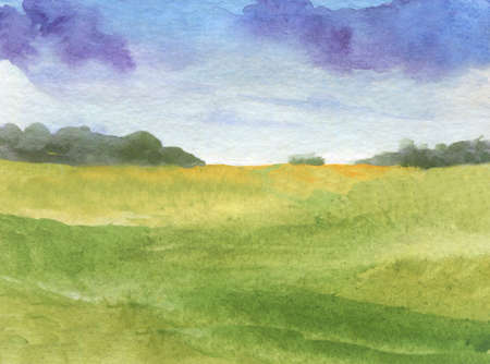 beautiful landscape with clouds and meadow at sunrise. watercolor landscape background