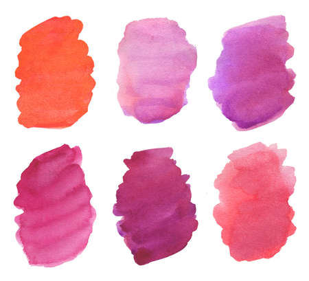 watercolor brush strokes background in purple and red colors Stock Photo