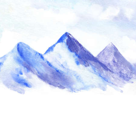 watercolor illustration of blue mountains and cloudy sky. snowy mountain background with white space