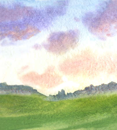 beautiful landscape with clouds and meadow distant trees at sunrise. watercolor landscape background Stock Photo