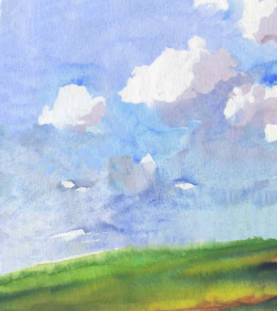watercolor landscape with white clouds over green field. hand drawn illustration Stock Photo