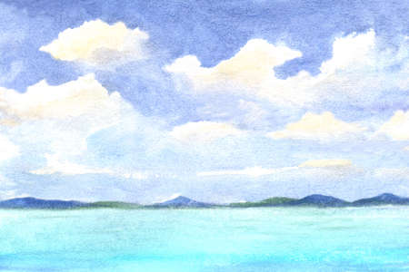 watercolor sea landscape and background with fluffy clouds and aqua blue water
